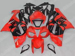 Carenado para kawasaki ninja rojo zx6r online-Kit de carenado de motocicleta para KAWASAKI Ninja ZX6R 07 -08 ZX6R 636 2007 2008 Rojo caliente Negro ABS Carenados conjunto 0002