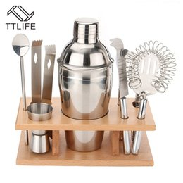 cocktail bar tool set shaker Promo Codes - Ttlife 8 Pcs Cocktail Shaker Set 350ml Professional Stainless Steel Cocktail Maker Jigger Ice Strainer Clip Spoon Bar Tools Set