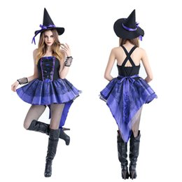 Wholesale Purple Gothic Costume - Halloween Halloween purple tuxedo witch witch outfit Nightclubs uniform bar Halloween party