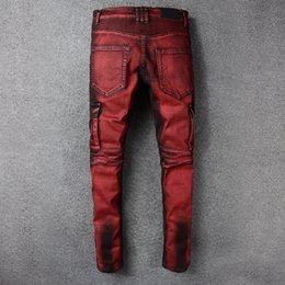Wholesale Bleached Cotton - 2018 Brand Mens Straight Ripped High Quality Denim Bike jeans Fashion Designer Pants Slim Fit Trousers
