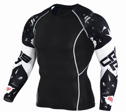 Wholesale Men Fitness Apparel - New Arrival Men's Printed Compression Sports Tops Workout Clothing T-Shirt Quick Dry Long Sleeve Sports Fitness Gym Apparel