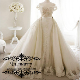 Wholesale Lace Wedding Gown Detachable Shoulder - 2016 Fall Plus Size Overskirts Arabic Wedding Dresses Detachable Train Mermaid Off Shoulder Real Images Lace African Spanish Bridal Gowns