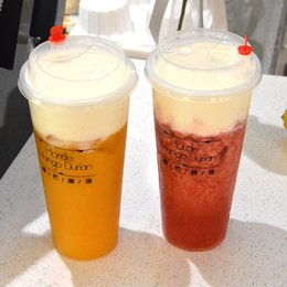 Wholesale Wholesale Black Plastic Cups - Disposable Plastic Cups Cold Drink Juice Thicken Drink Cup Plastic Milky Tea Cups With Lids White Black Transparent 500Ml 100Pcs Set