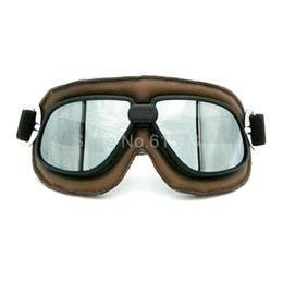 Wholesale Helmet Google - Vintage Pilot Eyewear Mirrored Lenses Helmet Goggles Glasses Motorcycle Goggle Biker Leather For Motorcycle Bike ATV Google