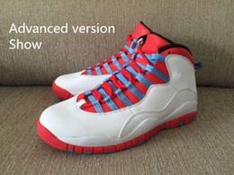 Wholesale Flag Suede - Fashion Sneaker mens shoes Retro 10 Chicago Flag White Red shoes Retro 10 X CHI Chicago Flag Read Description 310805 114
