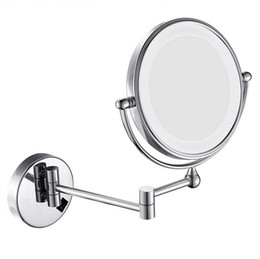 "Wholesale Wall Mounted Makeup Mirrors - Retail 8""LED light Wall Mounted Round Magnifying Mirror LED Makeup Mirror battery make up lady's private mirrors Free Shipping"