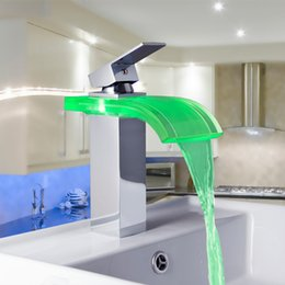Wholesale Colors Change Tap - Wholesale- 8220-3 Construction & Real Estate LED Colors Changing Chrome Waterfall Bathroom Basin Sink Mixer Tap Basin Faucet