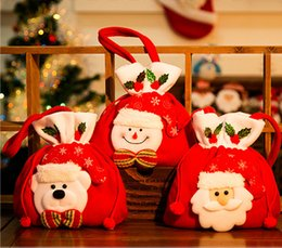 Wholesale Old Hair Brush - Christmas Decoration Christmas Gift Bag Backpack Bag brushed cloth old Snowman gift Christmas Candy Bag Ornament
