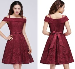 Wholesale Cheap Sexy Dresses For Juniors - New Arrival Cheap Junior Bridesmaid Dress Off Shoulder A Line Full Lace Party Dresses For Girls 2017 Homecoming Dresses CPS695