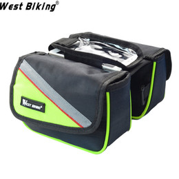 Wholesale Mtb Frame Bag Pannier - Shockproof Mountain MTB Road Bicycle Frame Pannier Bag and Front Tube Cellphone Zipped Bag with Mobile Phone Double--Pouch Phone