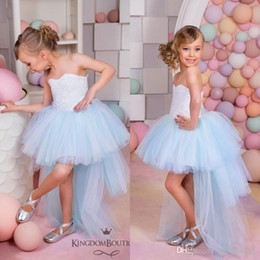 Wholesale toddlers high low pageant dresses - 2016 Beautiful Light Sky Blue Flower Girls Dresses for Weddings Vintage High Low Pageant Gowns Birthday Communion Toddler Kids TuTu Dress
