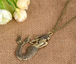 Wholesale Pendant Necklace For Ego - New Vintag Fashion Jewelry Little Mermaid Long Necklace EGO Gift for Girls Wholesale Best Quliaty charm Pendant Necklaces CC646