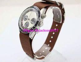 Wholesale Fine Coffee - New Arrival Fine Brand Quartz Men's Wristwatch Ti3 Coffee Fabric Belt Platinum Skeleton White Face Black Bezel Cosmograph Male Watch