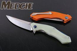 Wholesale Curved Blade Folding Knife - Medge 3 Model Bear Head 95 Flipper Knives Curve Razor D2 Satin Blade Black Orange Jade G10 CNC 3D Handle Folding Pocket EDC knife Xmas Gift