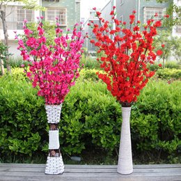 Wholesale Artificial Cherry Blossom Trees - New Artificial Cherry Spring Plum Peach Blossom Branch Silk Flower Tree For Wedding Party white red yellow pink 5 color Decorative Flowers