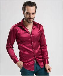 Wholesale Silk Mens Long Shirt - Wholesale-12 color men shirt Men long-sleeved Silk Shirts Casual Mens Dress Shirts Very good quality men Custom Fit Stylish tuxedo shirt