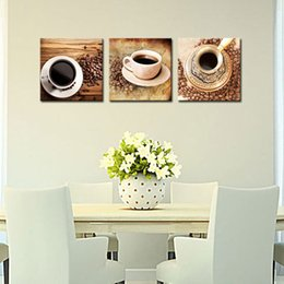 Wholesale House Picture Frames - 3 Pieces Canvas Painting Coffee Cup Wall Art For Coffee House Decor Coffee Beans Ready to Hang with Wooden Framed Gifts Wall Decoration