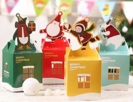 Wholesale Christmas Print Paper Bags Wholesale - cartoon gift Christmas Wedding candy fruit box colorful christmas box christmas eve apple folding cartons cute bag casual