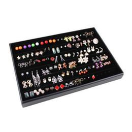Wholesale Earring Jewelry Box Organizer - Jewelry Display Black Earring Stud Tray Case Box Holder Storage Organizer for Silver Fashion Jewelry Free Shipping