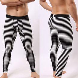 Wholesale Long Johns Clothing - Wholesale-Thin Elastic Line of Men Fashion Cotton Print Sexy Underwear Men Long Johns Sports Apparel Winter Warm Underwear Brand Clothing