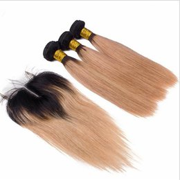 Wholesale 144 Hair - 1B 144 Ombre Brazilian Human Hair With Closure 4Pcs Lot Two Tone Colored Brazilian Blonde Ombre 3Bundles With Straight 4x4 Lace Closure