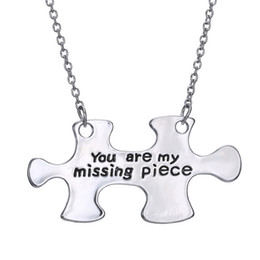 Wholesale Miss Pendant - wholesale alloy pendant necklace engraved you are my missing piece couple necklaces for lovers