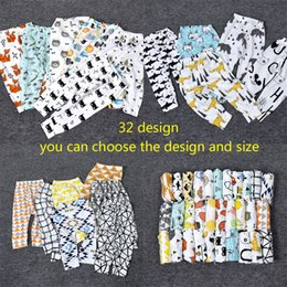 Wholesale 32 Design kids INS Lemon pp pants baby toddlers boys girls fox lemon tent feather geometric figure fruit trousers Leggings B001