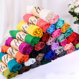 Wholesale Classic 78 - High quality Hot sale Solid Color Winter Candy Color Scarf for women 78*180cm shawl scarf Scarves Linen Cotton Scarf Warm Beach Pashmina