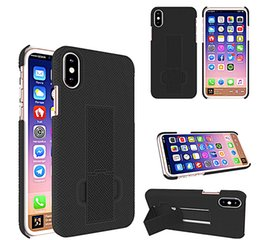 Wholesale Stripe Iphone - Kickstand Straw Mat Stripe For Iphone 8 Case PC+Silicone 2In 1 Armor Shockproof Phone Case With Opp Package DHL Free Shipping