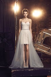 Wholesale Mikaella Wedding Dresses - 2017 Short Lace Mikaella Bridal Dresses Detachable Tulle Overskirt Wedding Gowns with Crystals Sash and Sweetheart Neckline Custom Made