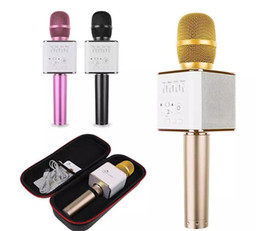 Wholesale High Quality Wireless Karaoke Microphone - Q7 Handheld Microphone Portable Wireless bluetooth KTV Karaoke Player Loudspeaker for iphone samsung with high Sound quality