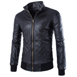 Wholesale Best Leather Jackets - Fall-Fashion Punk Style Men Motorcycle Leather Clothing Jacket Best-selling Rhombus Plaid Solid Leather Coat ZPY32