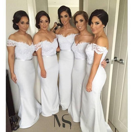 Wholesale Dresses For Bridemaids - Sexy Off the Shoulder Long Lace Bridemaids Dresses Sheath Formal Evening Gowns Wedding Party Dresses for Bridesmaid Short Sleeves BA3267