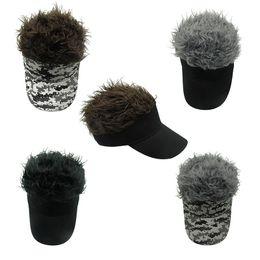 Wholesale Fake Hooks - Hot New Fashion Novelty Baseball Cap Fake Flair Hair Sun Visor Hats Men Women Toupee Wig Funny Hair Loss Cool Gifts