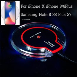 Wholesale Receiver Iphone - Qi Wireless Charger Charging Receiver For iphone 8 X 8x 8plus For Samsung S6 Edge s7 edge s8 plus Fantasy LED Charger Pad