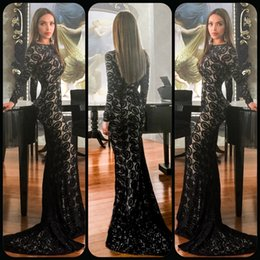 Wholesale Long Evening Classy Dresses - Elegant Long Sleeves Evening Gown Classy Jewel-Neck Fashionable Style Lace Full-Length Mermaid Prom Dress With Fabulous Train Evening Dress