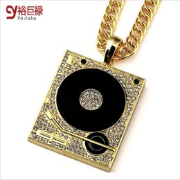Wholesale box breaks - 2016 New Arrival Hip-Hop Necklace Chain Hiphop Bar DJ Box Diamante Pendant Hipster Street Dance Breaking Jewelry for Men & Women