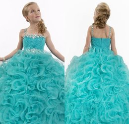 Wholesale Dress Color Aqua - 2018 New Sparkly Aqua Blue Flower Girl Dresses Long Pageant Dresses Puffy Dresses Little Girls Ball Gowns