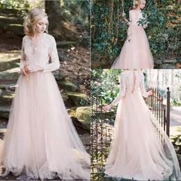 Wholesale Sexy Western Tops - 2018 New Western Garden A Line Wedding Dresses Long Sleeves V Neck Country A Line Wedding Dresses Key Hole Back Lace Top Wedding Gowns