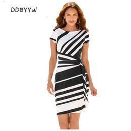 Wholesale Stripes Party Mini Dress - Work Dresses Women 2017 Autumn Pencil Red Black Navy White Stripe Knot Sheath Party Dress Vestidos Robes Casual 61657