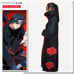 Wholesale Akatsuki Clothes - Halloween Cos Cosplay Naruto Akatsuki Orochimaru Uchiha Madara Sasuke Itachi Pein Clothes Costume Cloak Cape Wind Dust Coat