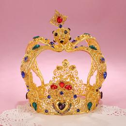 Wholesale Rhinestone King Crowns - Luxury Vintage Gold Wedding Crown Alloy Bridal Tiara Baroque Queen King Crown Rhinestone Wedding Tiaras Princess Dress Accessories