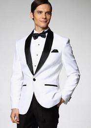 Wholesale Top Selling Men Girdle - Top Selling New White Jacket With Black Satin Lapel Groom Tuxedos Groomsmen Best Man Suit Men Wedding Suits (Jacket+Pants+Bow Tie+Girdle) A1