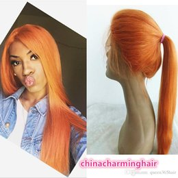 Wholesale Colored Virgin Brazilian Hair - Orange colored Full Lace Wigs Virgin Soft Human Hair colorful orange hair lace Wigs For Women Bleached Knots