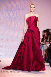 Wholesale haute couture - Free Shipping Zuhair Murad Haute Couture Evening Dresses Strapless Floor Length Long Formal Evening Party Gowns Vestidos De Fiesta