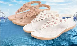 Wholesale Womens Leather Thong Sandals - 2016 Korean female flowers flip flat thong sandals from womens-world