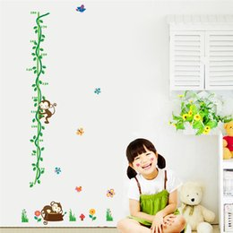 Wholesale Measure Wall Stickers - Free Shipping Tree Monkey bird Removable Cartoon Wall Decal Stickers Growth Chart Height Measure Nursery Room Decor