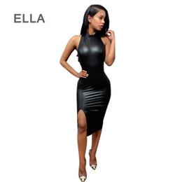 Wholesale Leather Clubbing Wear - PU Leather Dress 2016 Hot Black Split Backless Bodycon Dress Sexy Knee Length Dance Club Wear Party Bandage Vestidos De Festa
