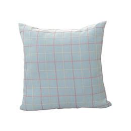 Wholesale Wholesale Cotton Filling - Home Pillow Set Light Blue Cotton Pillow Mesh Design Square Cushion No Fill Memory Cushion free shipping