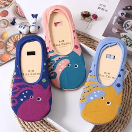 Wholesale Slipper Socks For Girls - Personality Cartoon Ship Socks for Women Cute Octopus Pattern Invisible Low Cut Socks Summer Girls Sock Slippers